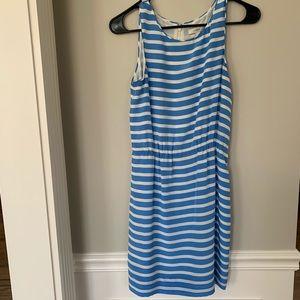 Jcrew blue and white striped dress
